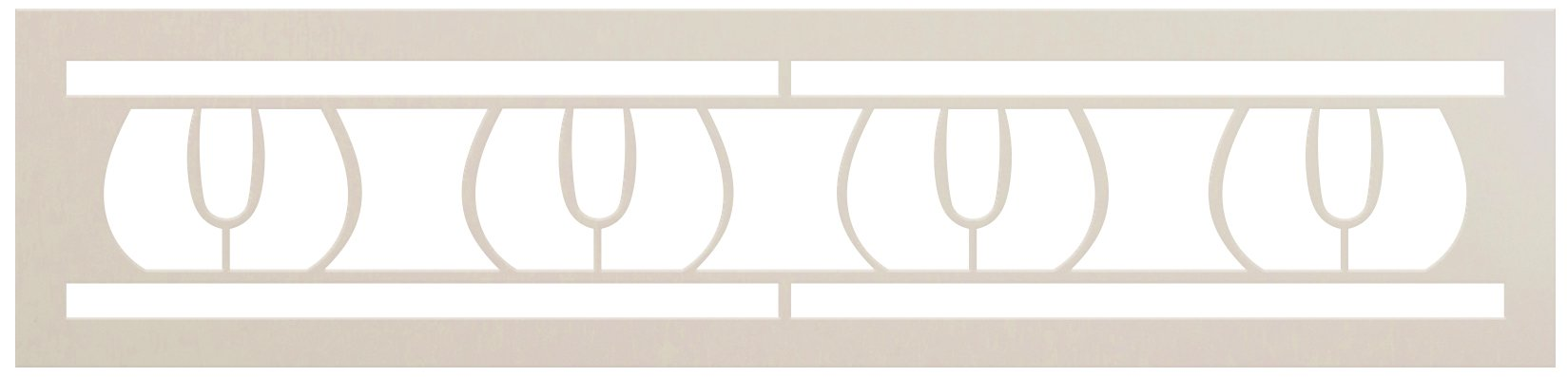 Flower Bud Thick Border Stencil by StudioR12   DIY Greek Geometric Pattern Home Decor   Craft & Paint Wood Sign Reusable Mylar Template   Select Size