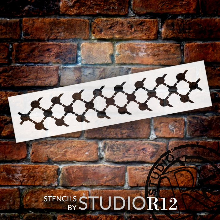 Diamond Square Dot Pattern Stencil by StudioR12 | DIY Greek Seamless Border Home Decor | Craft & Paint Wood Sign Reusable Mylar Template | Select Size