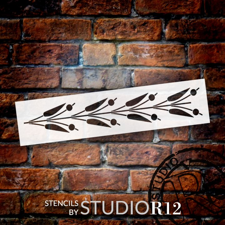 Thin Lily Flower Pattern Stencil by StudioR12 | DIY Greek Floral Border Home Decor | Craft & Paint Wood Sign | Reusable Mylar Template | Select Size