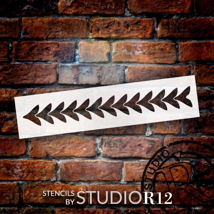 Overlapping Arrow Border Stencil by StudioR12 | DIY Greek Scale Pattern Home Decor | Craft & Paint Wood Sign | Reusable Mylar Template | Select Size
