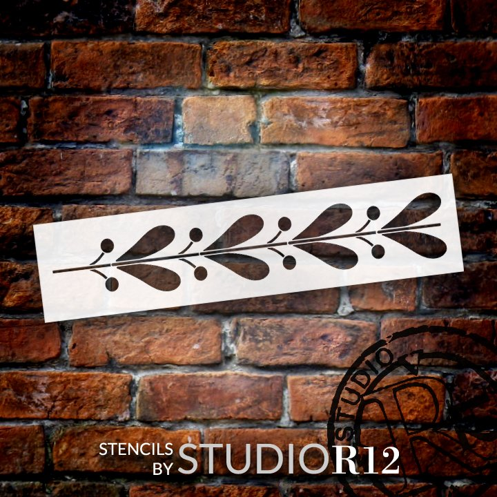 Flower Bloom Heart Border Stencil by StudioR12   DIY Greek Floral Pattern Home Decor   Craft & Paint Wood Sign   Reusable Mylar Template   Select Size