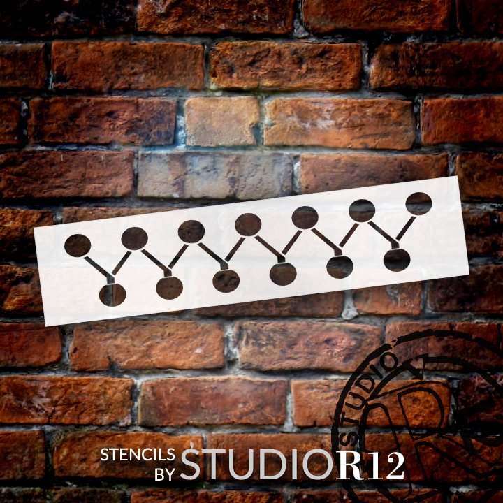 Overlapping Zig Zag & Dots Border Stencil by StudioR12 | DIY Greek Pattern Home Decor | Craft & Paint Wood Sign Reusable Mylar Template | Select Size