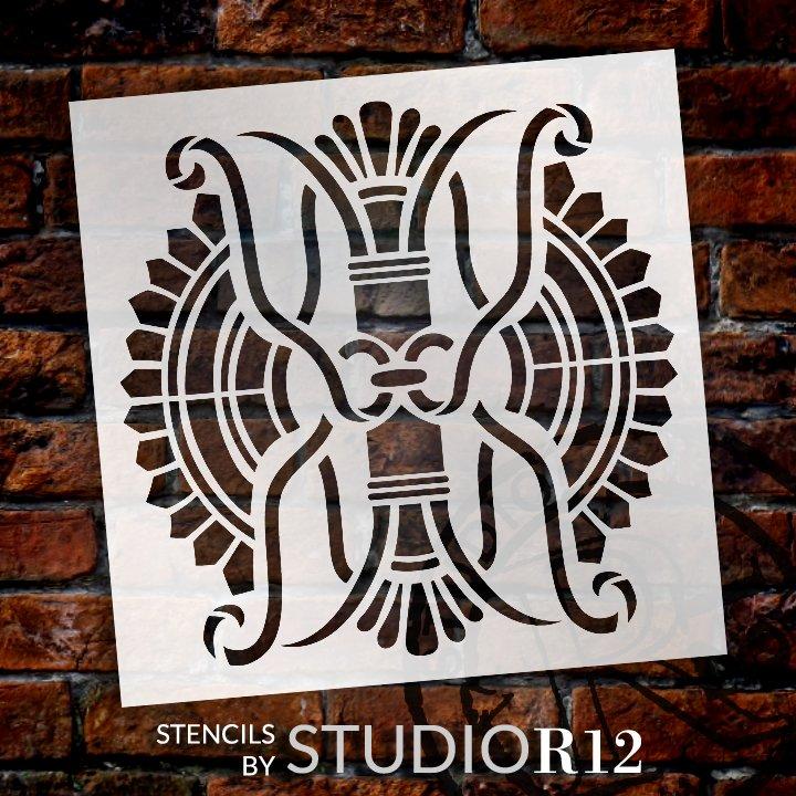 Palmette Column Tile Pattern Stencil by StudioR12   Craft DIY Greek Fan Backsplash Home Decor   Paint Wood Sign Reusable Mylar Template   SELECT SIZE
