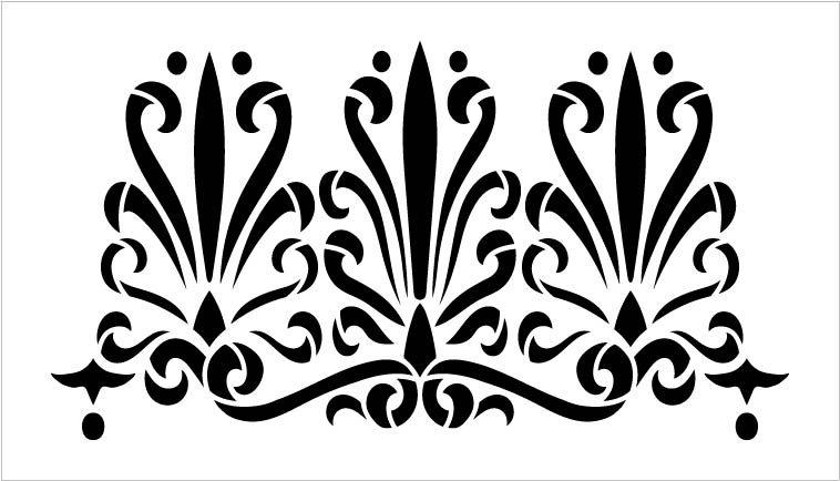 Curled Palmette Border Pattern Stencil by StudioR12 | DIY Greek Backsplash Home Decor | Craft & Paint Wood Sign Reusable Mylar Template | SELECT SIZE