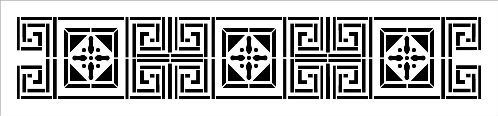 Meander Square Border Stencil by StudioR12   DIY Greek Pattern Backsplash Home Decor   Craft & Paint Wood Sign   Reusable Mylar Template   Select Size