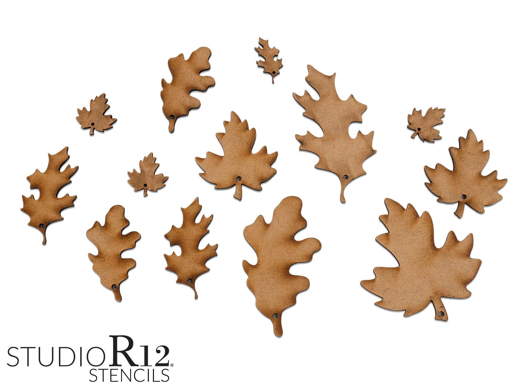 Autumn Leaves Embellishment Set | Fall Wooden Leaves | Set of 13 Wood Leaf Embellishments