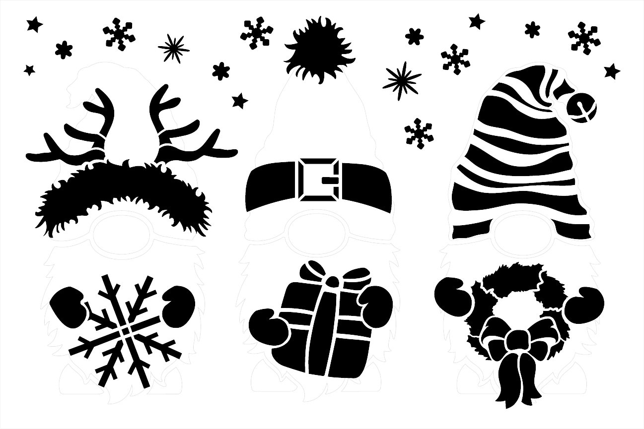 Christmas Gnome Embellishment Stencil by StudioR12   DIY Winter Holiday Home Decor   Craft & Paint Wood Sign   Reusable Mylar Template   Select Size