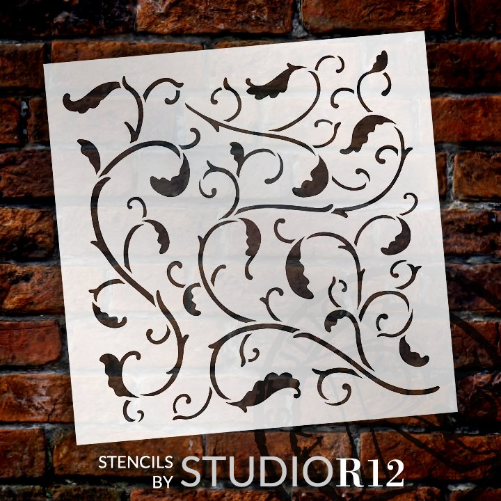 Victorian Vine Pattern Stencil by StudioR12 | DIY Autumn Leaves Home Decor | Craft & Paint Fall Wood Sign | Reusable Mylar Template | Select Size