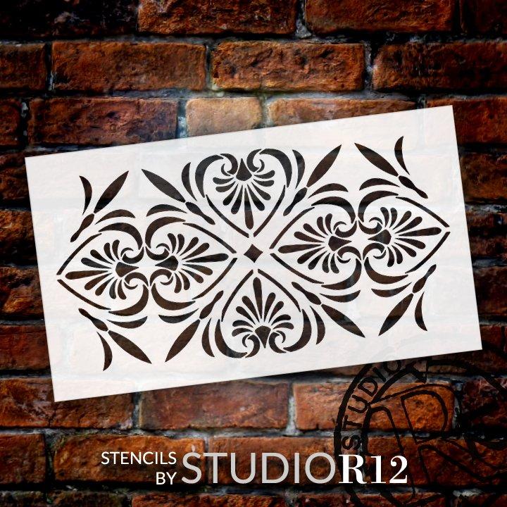 Floral Quatrefoil Border Pattern Stencil by StudioR12 | DIY Greek Ornament Home Decor | Craft & Paint Wood Sign Reusable Mylar Template | Select Size
