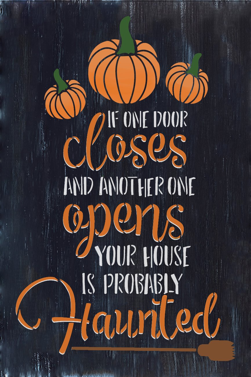 Your House is Probably Haunted Stencil by StudioR12   Craft DIY Halloween Fall Home Decor   Paint Wood Sign   Reusable Mylar Template   Select Size