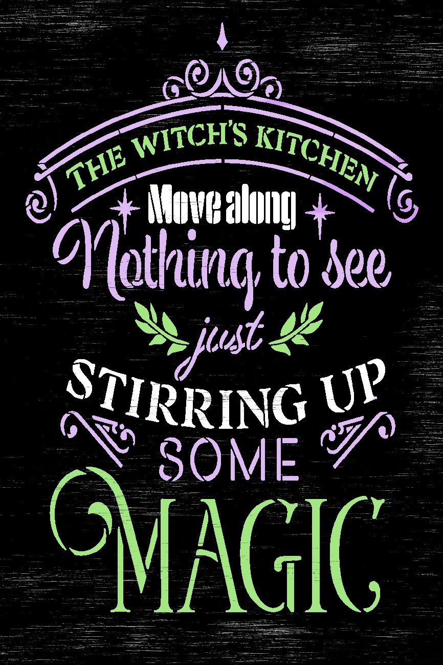 Witch's Kitchen - Stirring Up Magic Stencil by StudioR12 | Craft DIY Halloween Fall Home Decor | Paint Wood Sign Reusable Mylar Template | Select Size