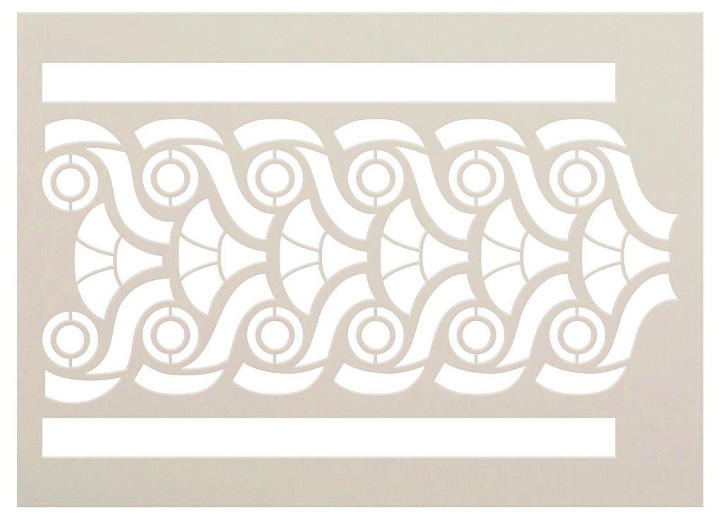 Fan & Circle Band Pattern Stencil by StudioR12   Craft DIY Greek Backsplash Border Home Decor   Paint Wood Sign Reusable Mylar Template   Select Size