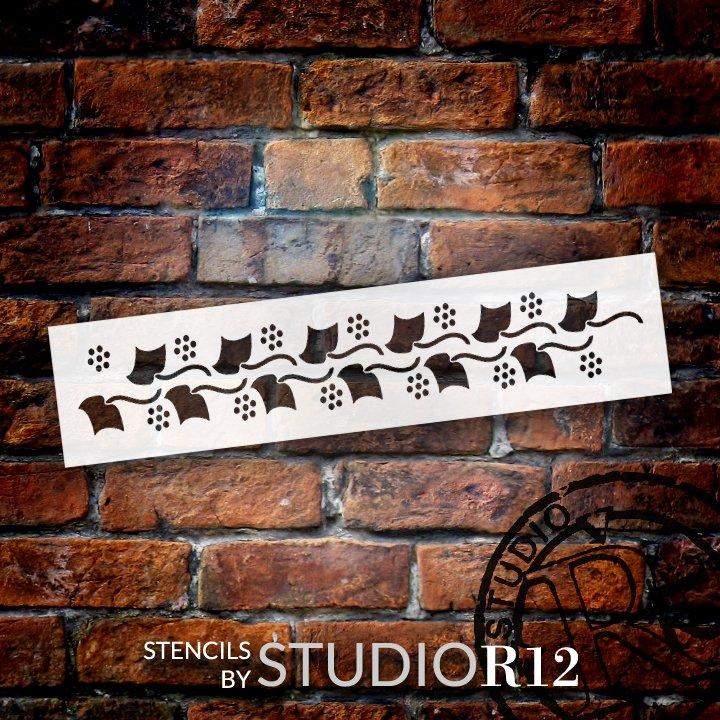 Berry Cluster Vine Pattern Stencil by StudioR12 | DIY Greek Leaf Backsplash Home Decor | Craft & Paint Wood Sign Reusable Mylar Template | Select Size
