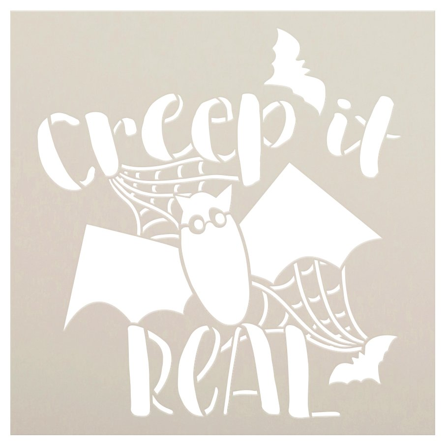 Creep It Real Stencil by StudioR12   Bat - Spiderweb   DIY Fall Halloween Home Decor   Craft & Paint Wood Sign   Reusable Mylar Template   Select Size