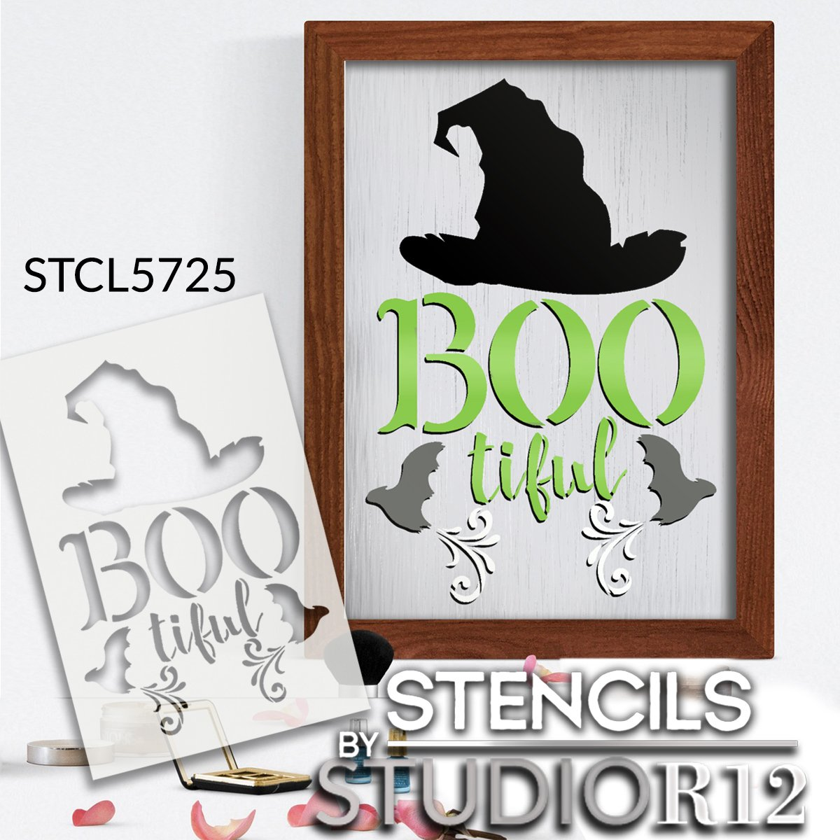 BOOtiful Stencil by StudioR12 | Witch Hat - Bats | DIY Fall Halloween Home Decor | Craft & Paint Wood Sign | Reusable Mylar Template | Select Size
