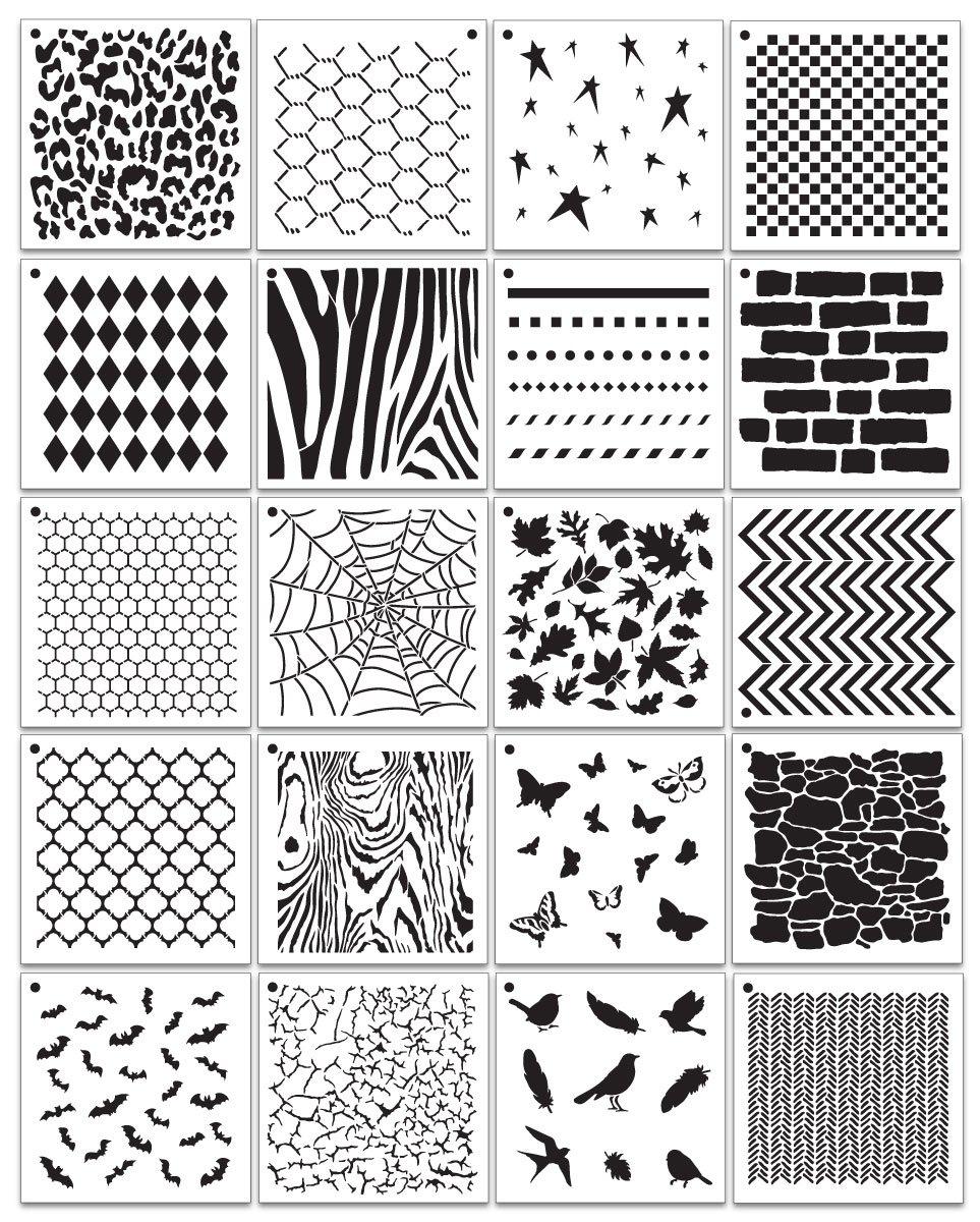 "Deluxe 6"" x 6"" Pattern Stencil Set - 20 pc."