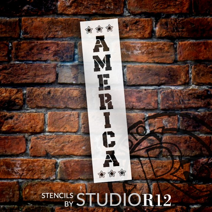 America Vertical Stencil with Stars by StudioR12 | DIY Patriotic Porch Decor | Paint Fourth of July Tall Wood Leaner Sign | Select Size