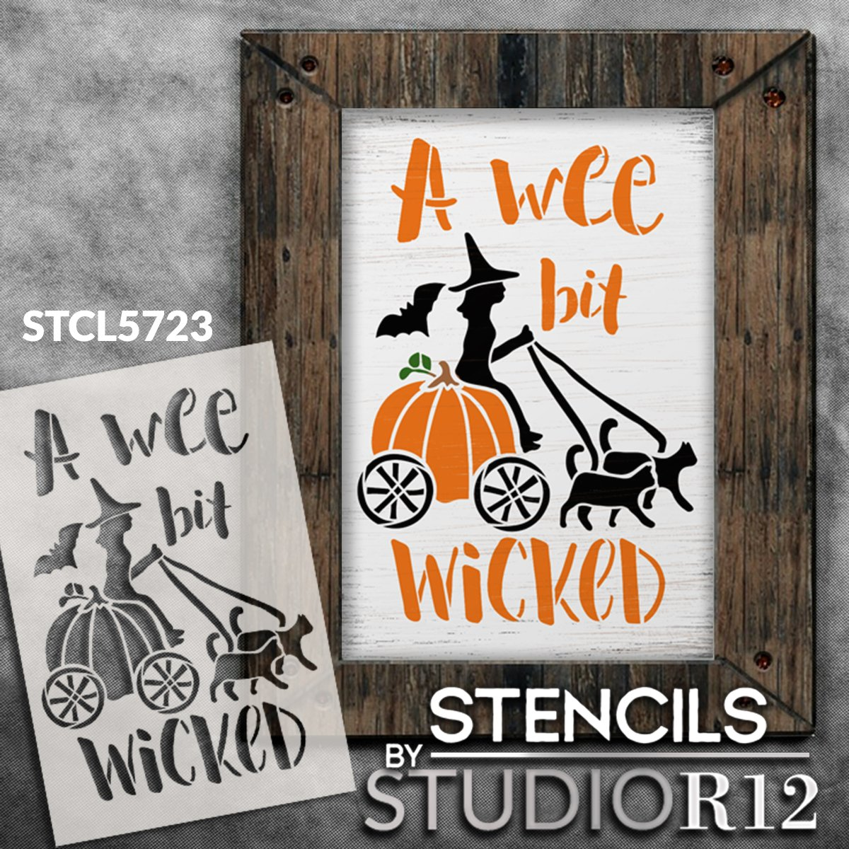 A Wee Bit Wicked Stencil by StudioR12 | Witch - Pumpkin | DIY Halloween Home Decor | Craft & Paint Wood Sign | Reusable Mylar Template | Select Size