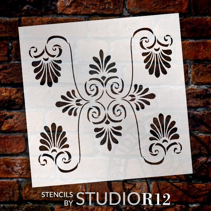 Palmette Swirl Pattern Tile Stencil by StudioR12 | DIY Greek Backsplash Home Decor | Craft & Paint Wood Sign | Reusable Mylar Template | Select Size