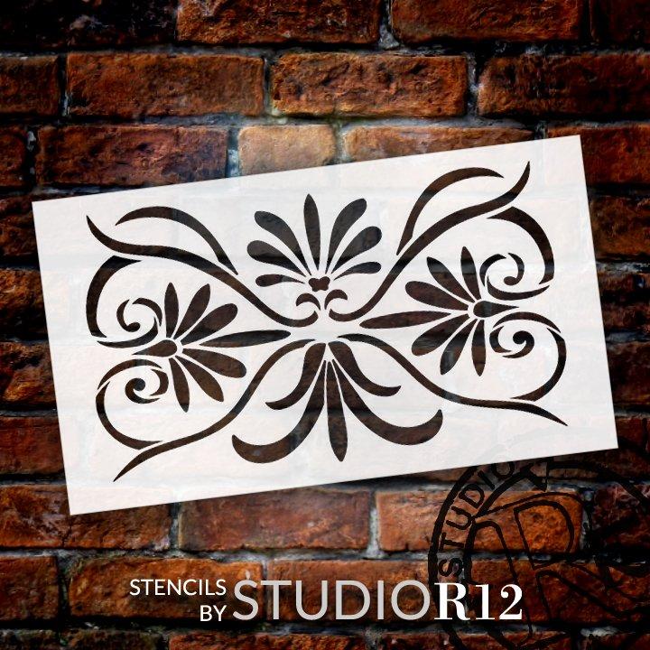 Palmette Floral Ornament Pattern Stencil by StudioR12   Craft DIY Greek Backsplash Home Decor   Paint Wood Sign Reusable Mylar Template   Select Size