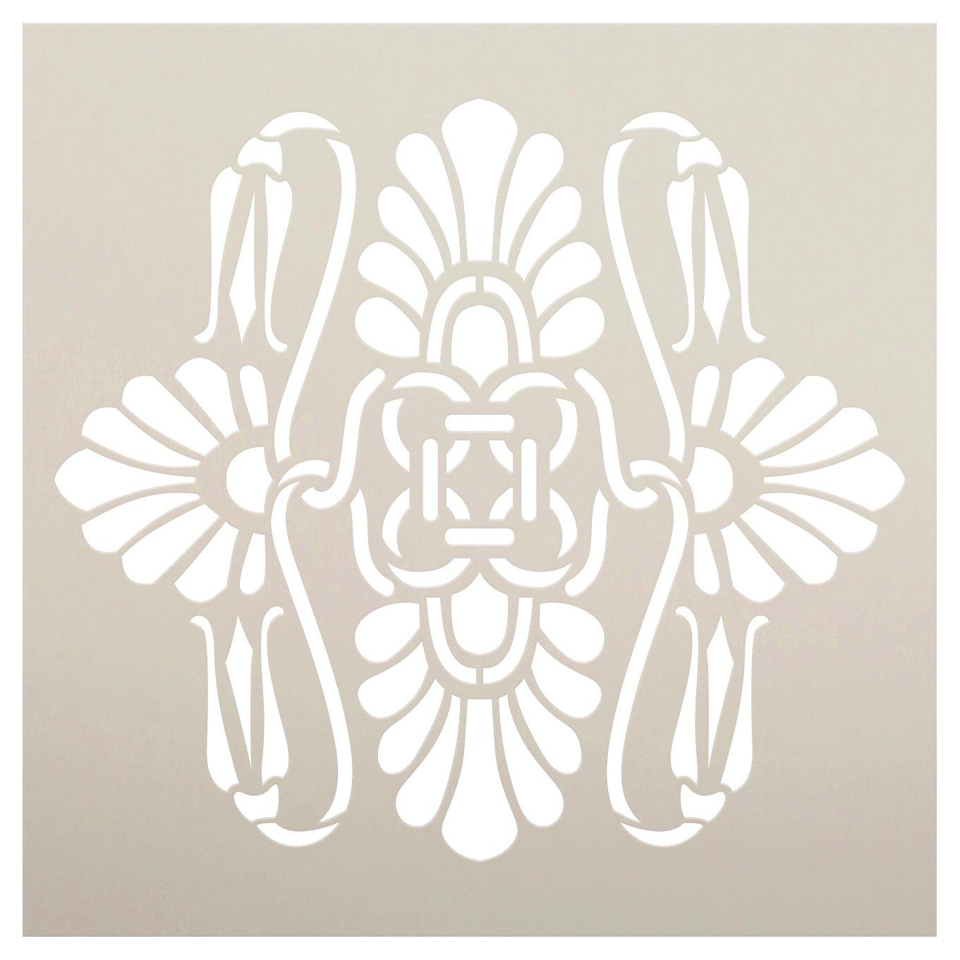 Palmette Lily Knot Pattern Stencil by StudioR12 | Craft DIY Greek Tile Backsplash Home Decor | Paint Wood Sign | Reusable Mylar Template | Select Size