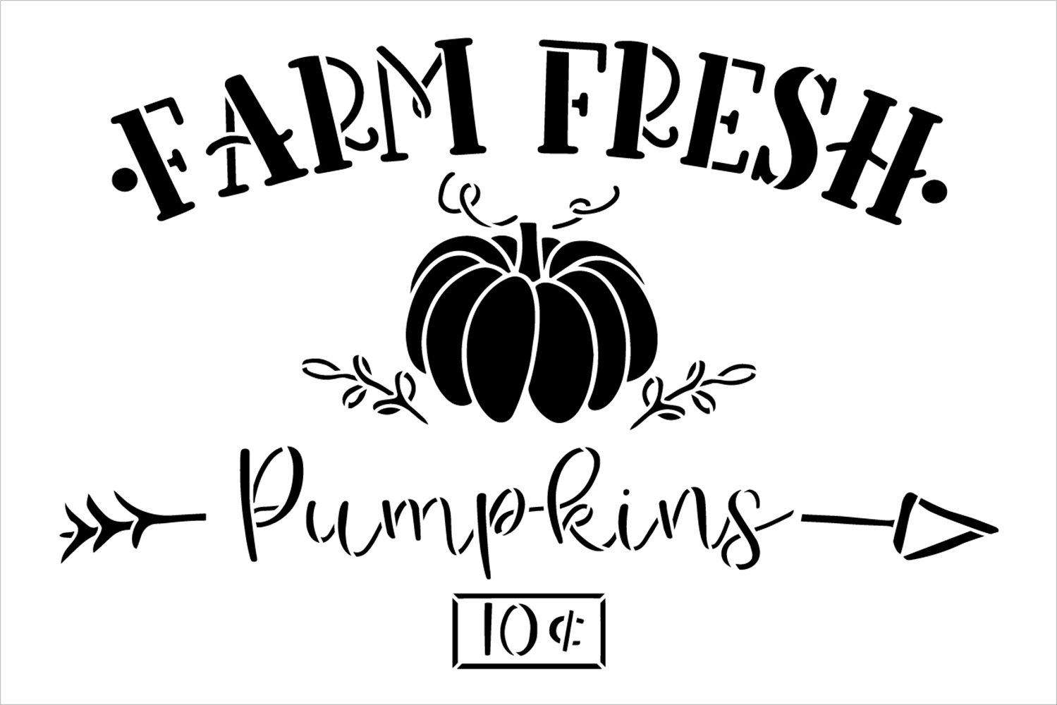 Farm Fresh Pumpkins 10 Cents Stencil by StudioR12 | Craft DIY Fall Autumn Farmhouse Home Decor | Paint Wood Sign Reusable Mylar Template | Select Size