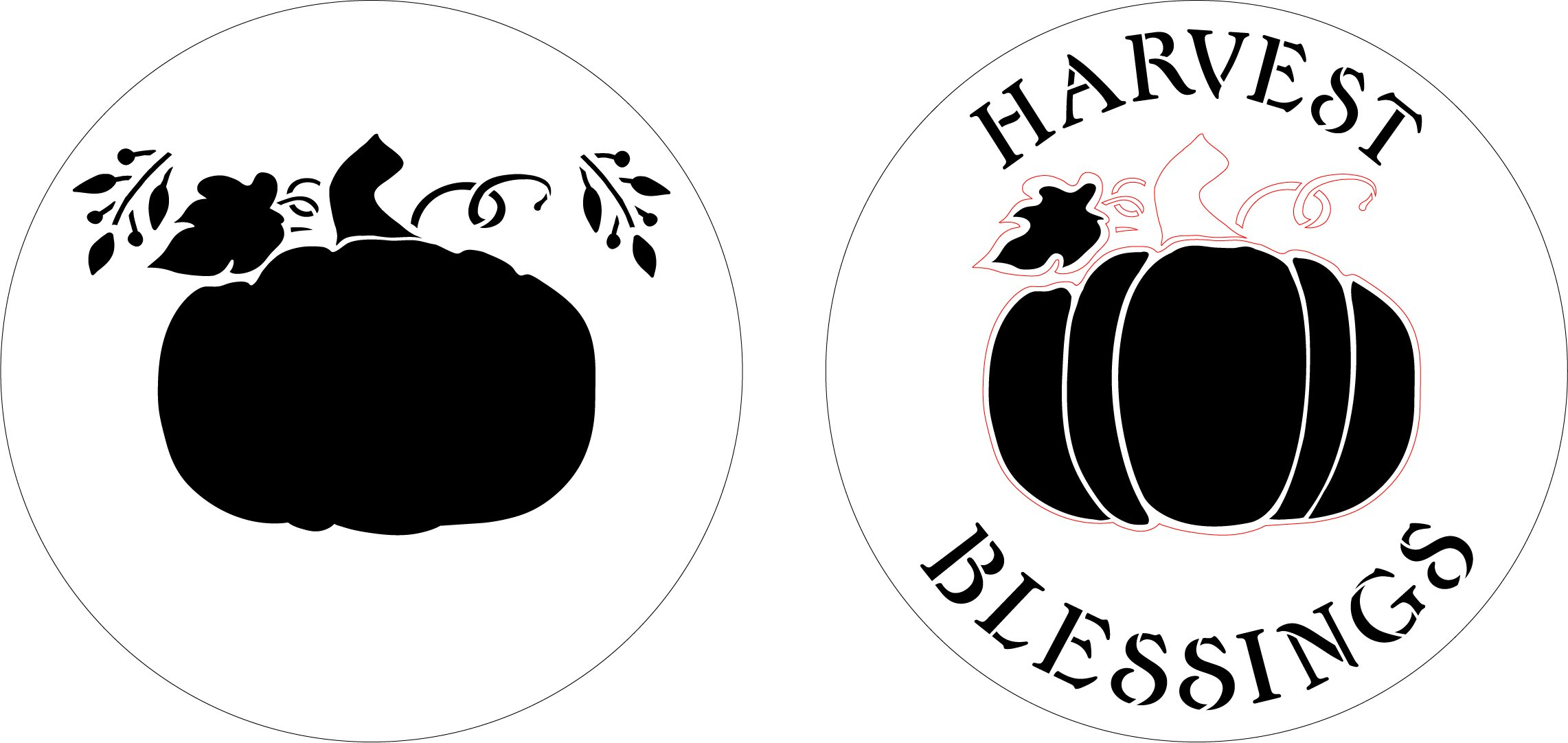 Harvest Blessings 2-Part Round Stencil by StudioR12 | DIY Autumn Pumpkin Home Decor Craft & Paint Fall Wood Sign Reusable Mylar Template | Select Size