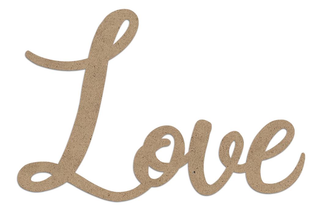Love Wood Embellishment | Farmhouse Script Word Cutout | EMBL386