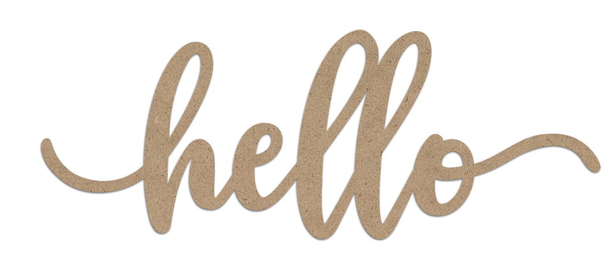 Hello Wood Embellishment | Farmhouse Script Word Cutout | EMBL388