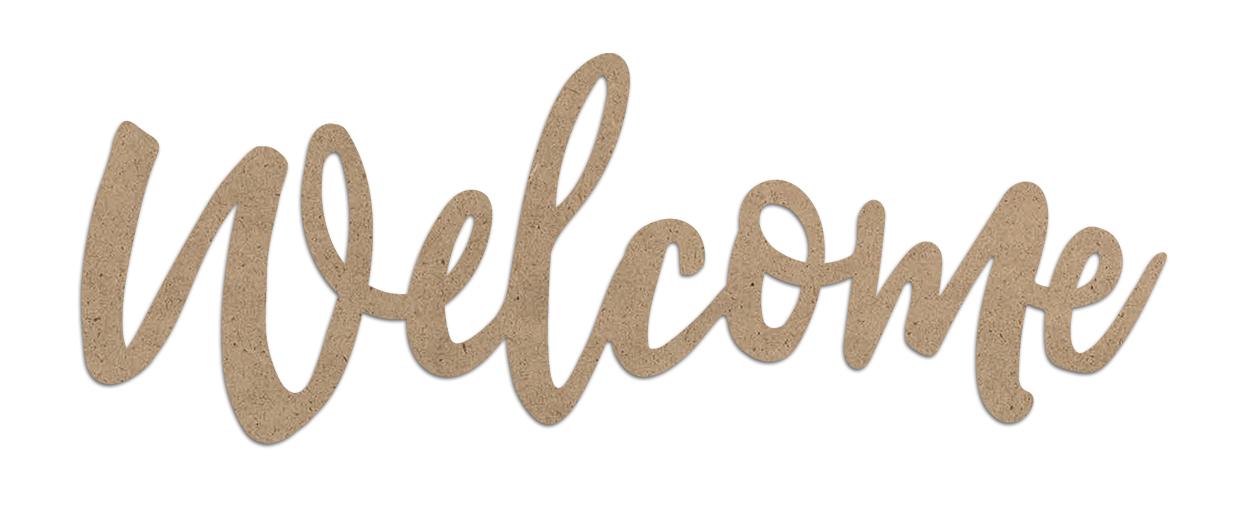 Welcome Wood Embellishment   Farmhouse Script Word Cutout   EMBL389