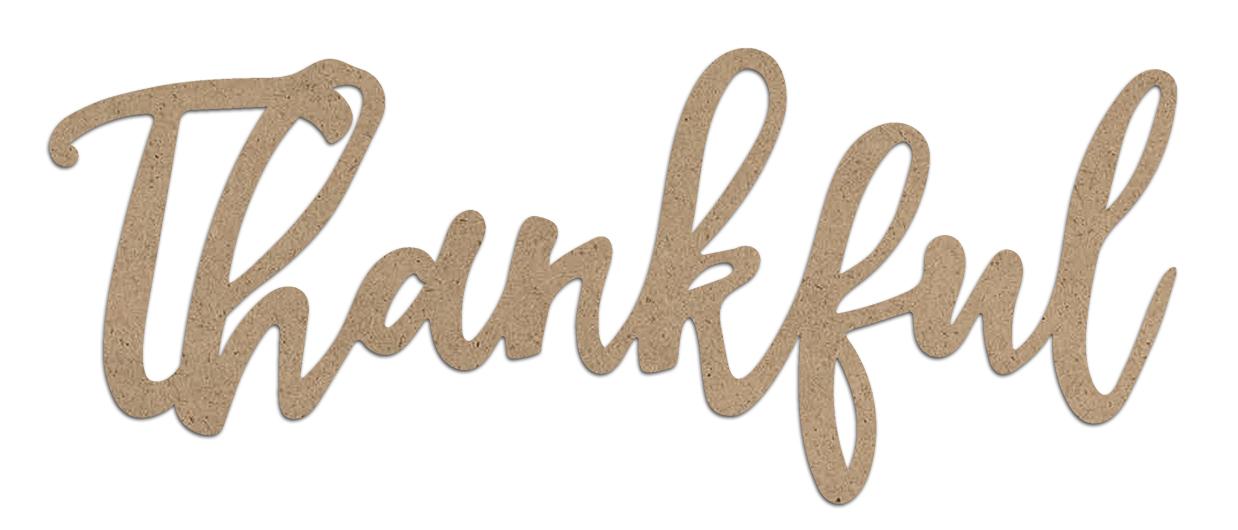 Thankful Wood Embellishment   Farmhouse Script Word Cutout   EMBL390