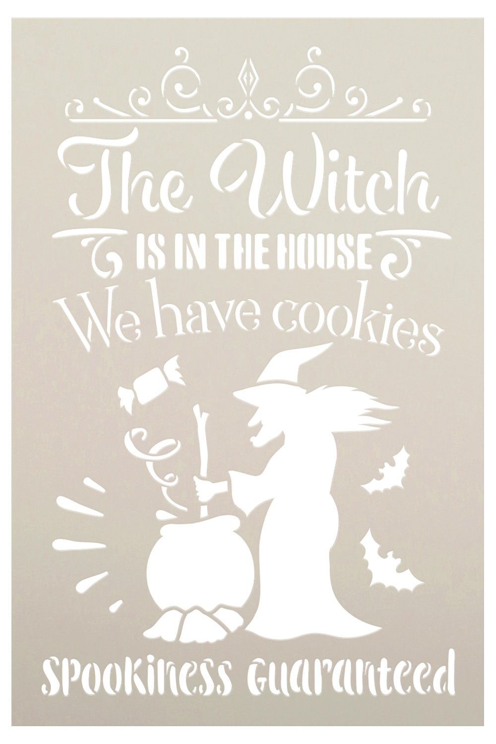 Witch is in The House Stencil by StudioR12 | DIY Spooky Halloween Home Decor | Craft & Paint Fall Wood Sign | Reusable Mylar Template | Select Size