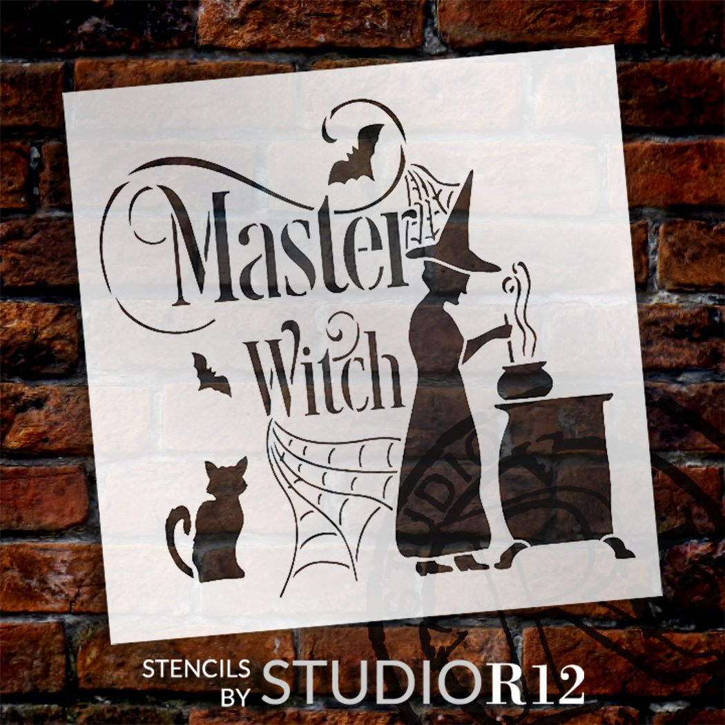 Master Witch Stencil by StudioR12 | DIY Autumn Halloween Spiderweb Home Decor | Craft & Paint Fall Wood Sign | Reusable Mylar Template | Select Size