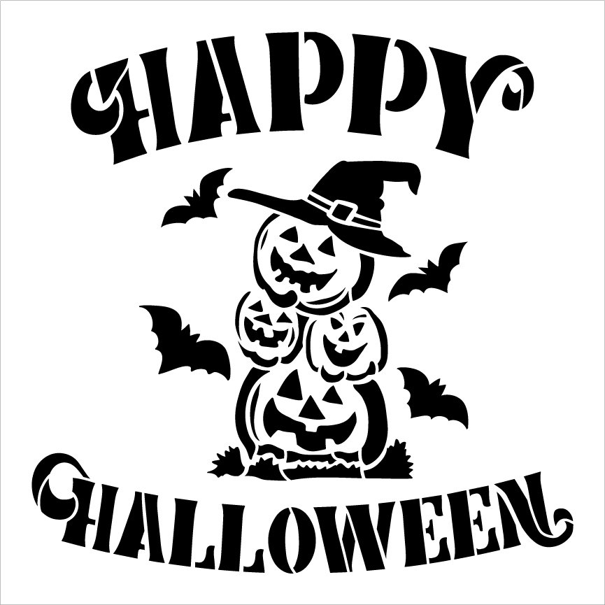 Happy Halloween Stencil by StudioR12 | Pumpkin Witch Hat Bats | DIY Fall Home Decor | Craft & Paint Wood Sign | Reusable Mylar Template | Select Size