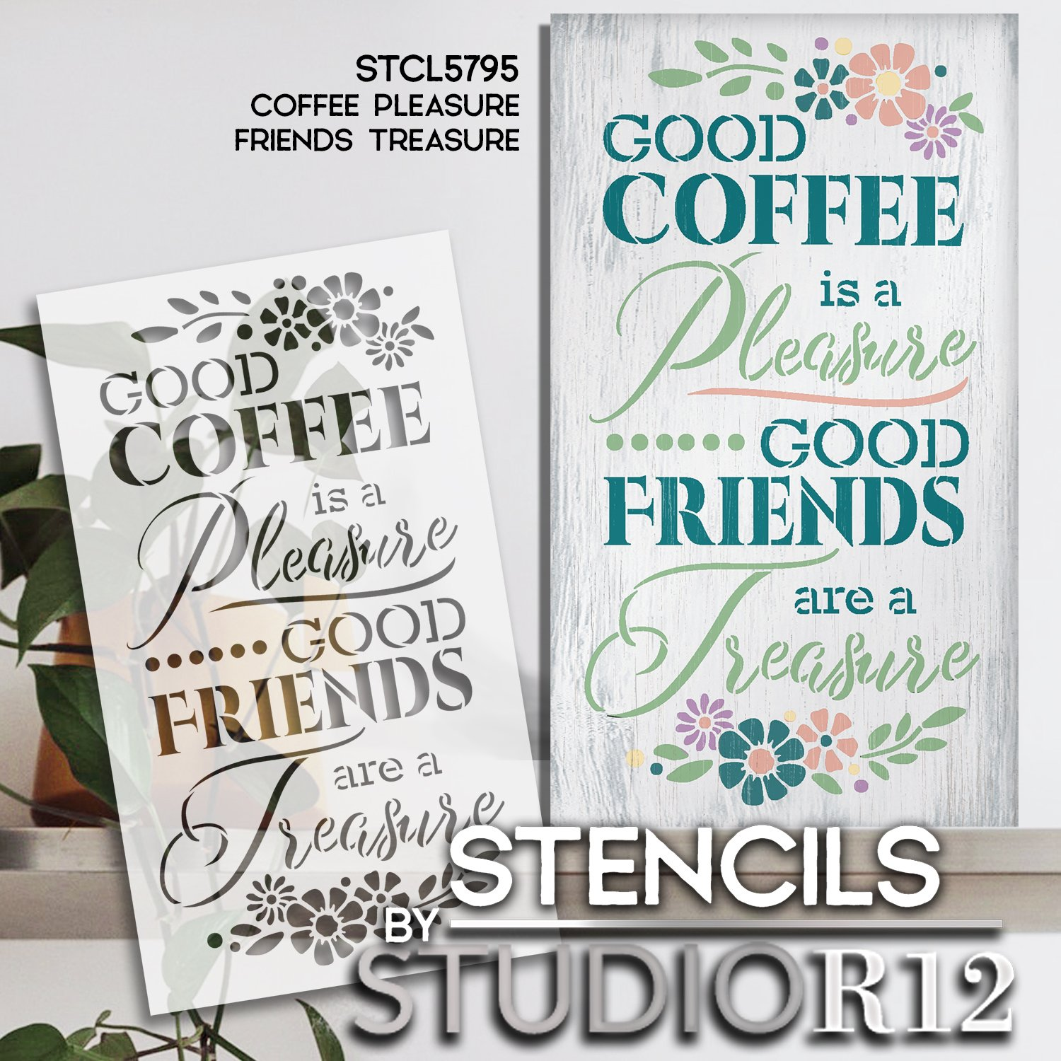 Coffee Pleasure Friends Treasure Stencil by StudioR12   DIY Kitchen Cafe Home Decor   Craft & Paint Wood Sign   Reusable Mylar Template   Select Size