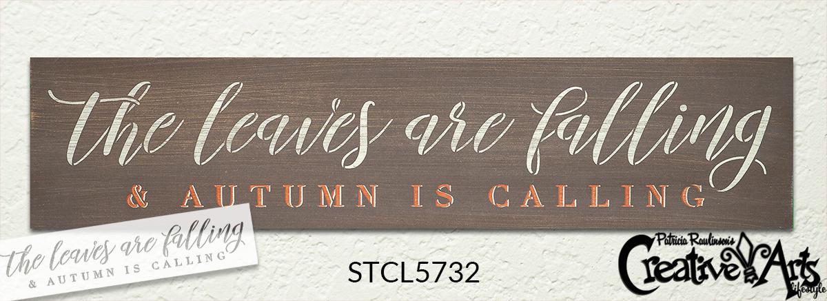 Leaves Falling Autumn Calling Stencil by StudioR12   DIY Cursive Script Home Decor   Craft & Paint Wood Sign   Reusable Mylar Template   Select Size