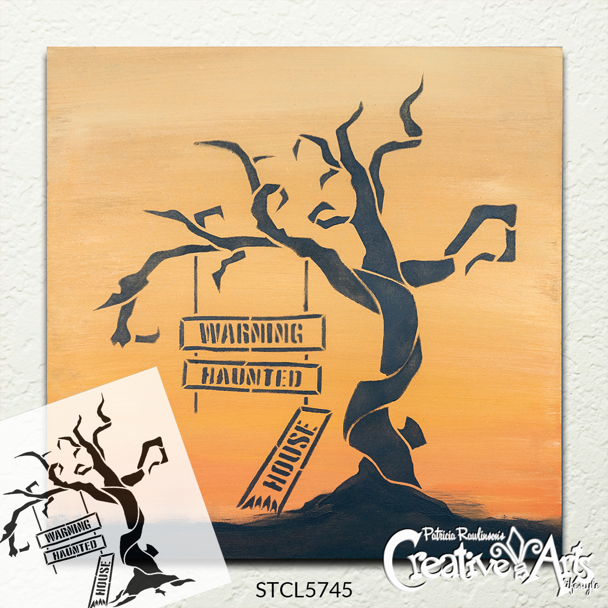 Warning Haunted House Stencil by StudioR12 | DIY Fall Halloween Home Decor | Craft & Paint Spooky Tree Wood Sign Reusable Mylar Template | Select Size