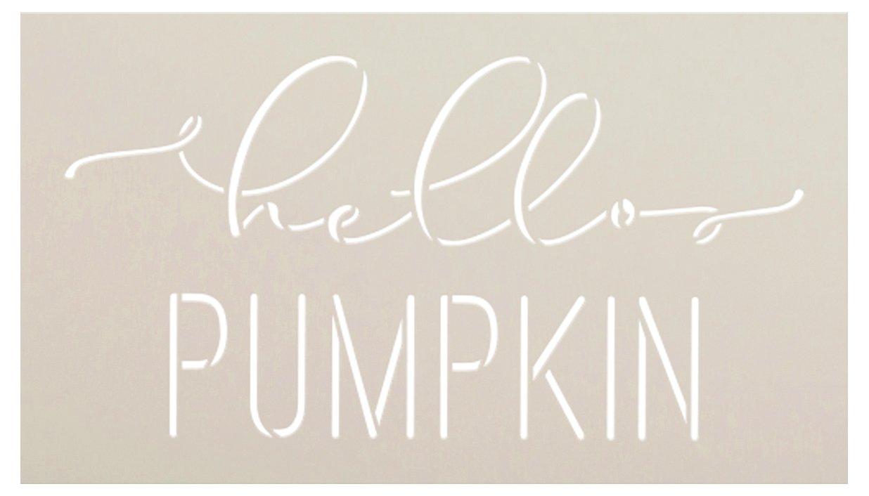 Hello Pumpkin Cursive Script Stencil by StudioR12 | DIY Autumn Fall Home Decor | Craft & Paint Wood Sign | Reusable Mylar Template | Select Size