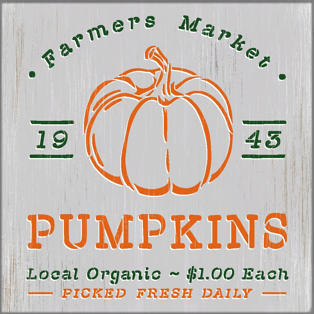 Farmers Market Pumpkins 1943 Stencil by StudioR12 | Craft DIY Fall Autumn Farmhouse Home Decor | Paint Wood Sign Reusable Mylar Template | Select Size