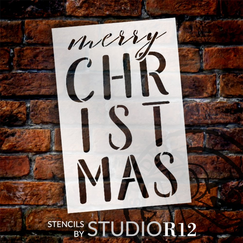 Merry Christmas Stacked Letter Stencil by StudioR12 | DIY Winter Holiday Home Decor | Craft & Paint Wood Sign | Reusable Mylar Template | Select Size