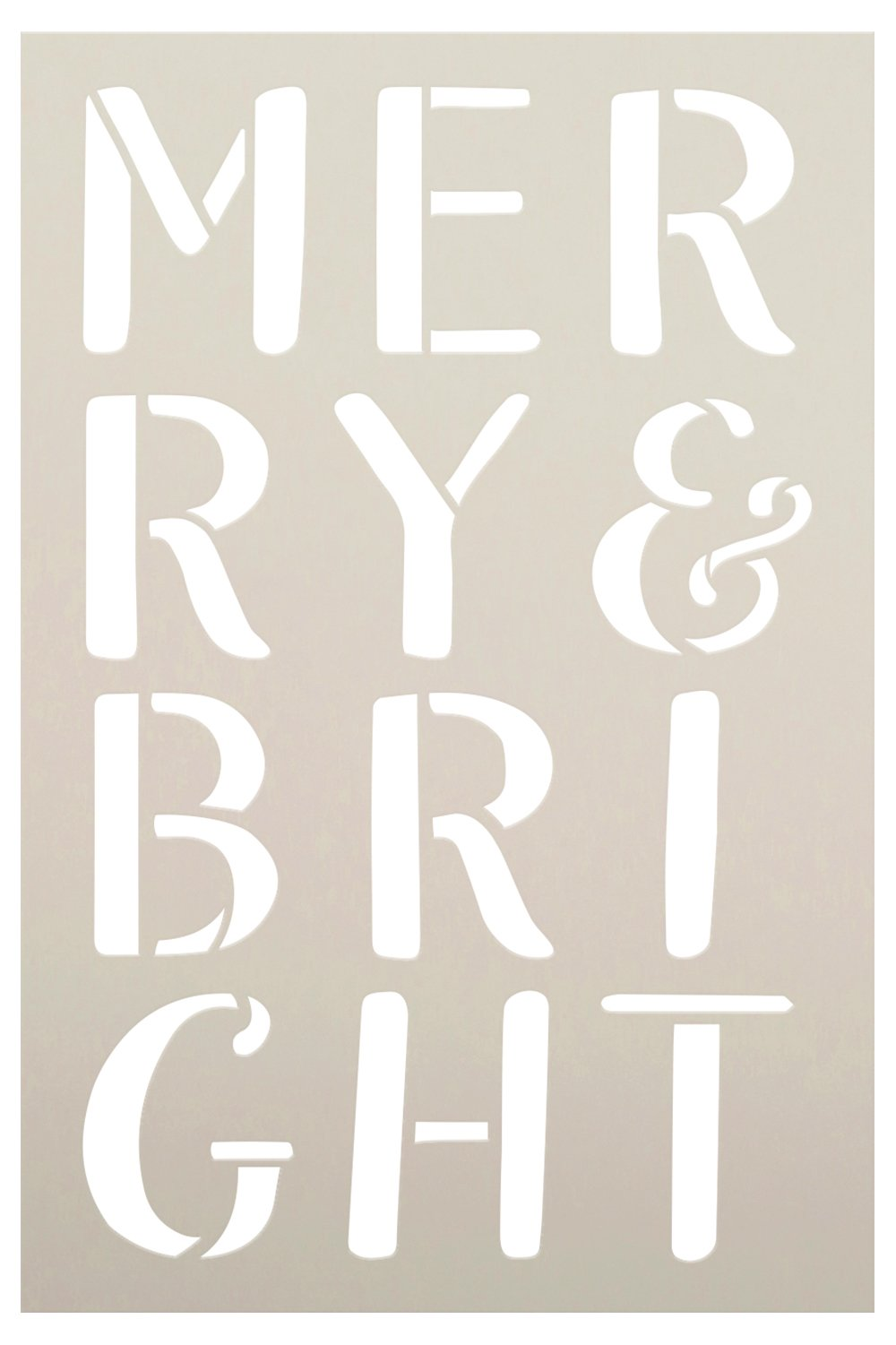 Merry & Bright Stacked Letter Stencil by StudioR12 | Craft DIY Christmas Holiday Home Decor | Paint Wood Sign | Reusable Mylar Template | Select Size