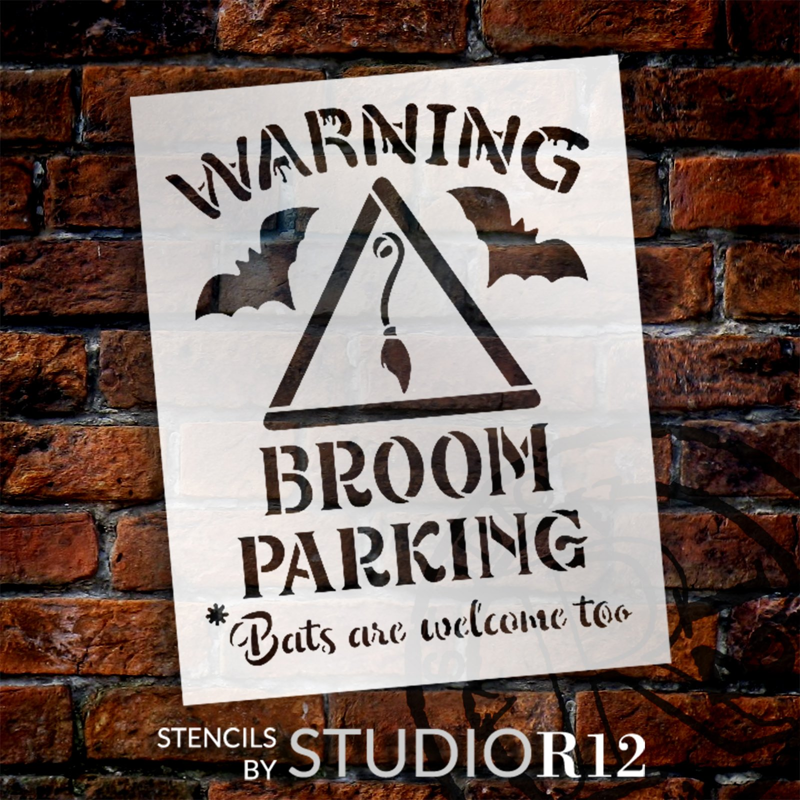 Warning Broom Parking Stencil by StudioR12 | DIY Fall Autumn Halloween Home Decor | Craft & Paint Wood Sign | Reusable Mylar Template | Select Size