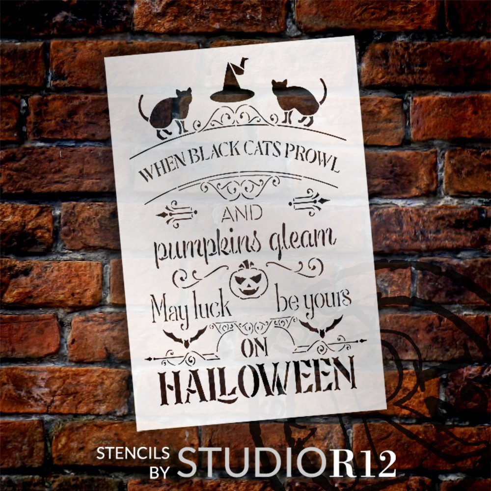 May Luck Be Yours on Halloween Stencil by StudioR12 | DIY Fall Home Decor | Craft & Paint Autumn Wood Sign | Reusable Mylar Template | Select Size