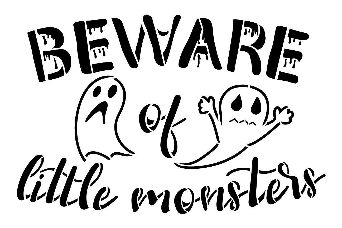 Beware of Little Monsters Stencil by StudioR12 | DIY Fall Ghost Halloween Home Decor | Craft & Paint Wood Sign | Reusable Mylar Template | Select Size