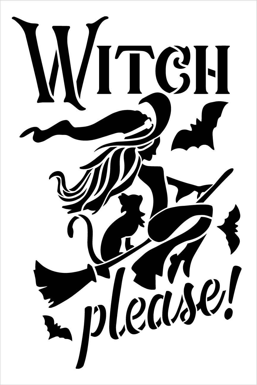 Witch Please Stencil by StudioR12 | Bat - Broomstick - Cat | Craft DIY Halloween Home Decor | Paint Wood Sign | Reusable Mylar Template | Select Size