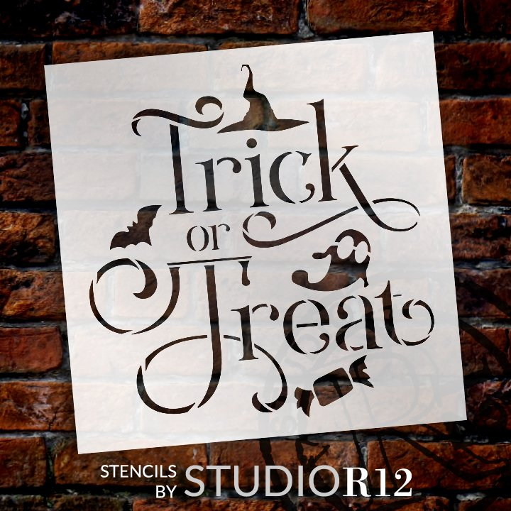 Trick or Treat Halloween Stencil by StudioR12 | DIY Autumn Fall Home Decor | Craft & Paint Square Wood Sign | Reusable Mylar Template | Select Size