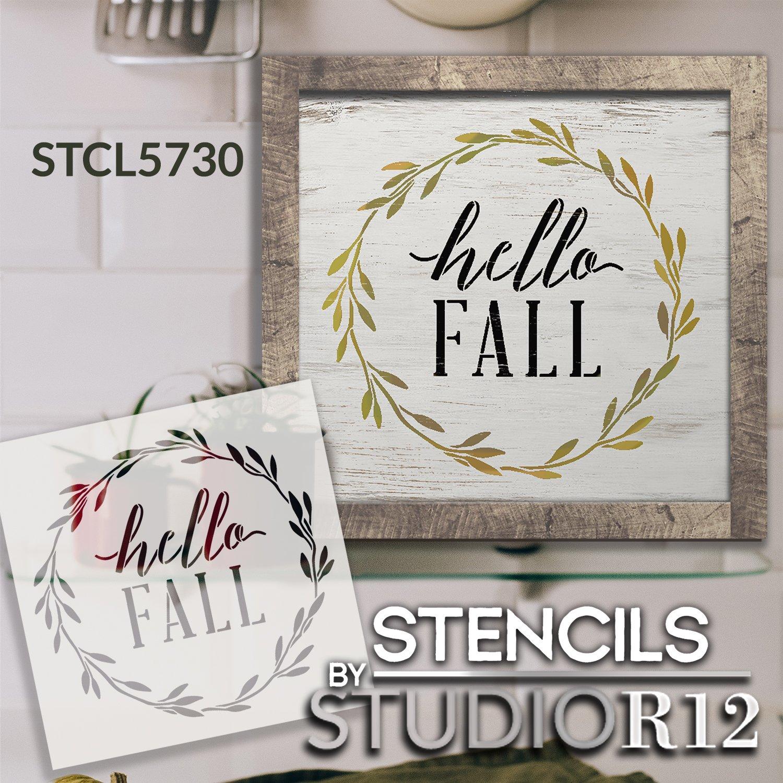 Hello Fall Wreath Stencil by StudioR12 | DIY Autumn Leaves Cursive Script Home Decor | Craft & Paint Wood Sign | Reusable Mylar Template | Select Size