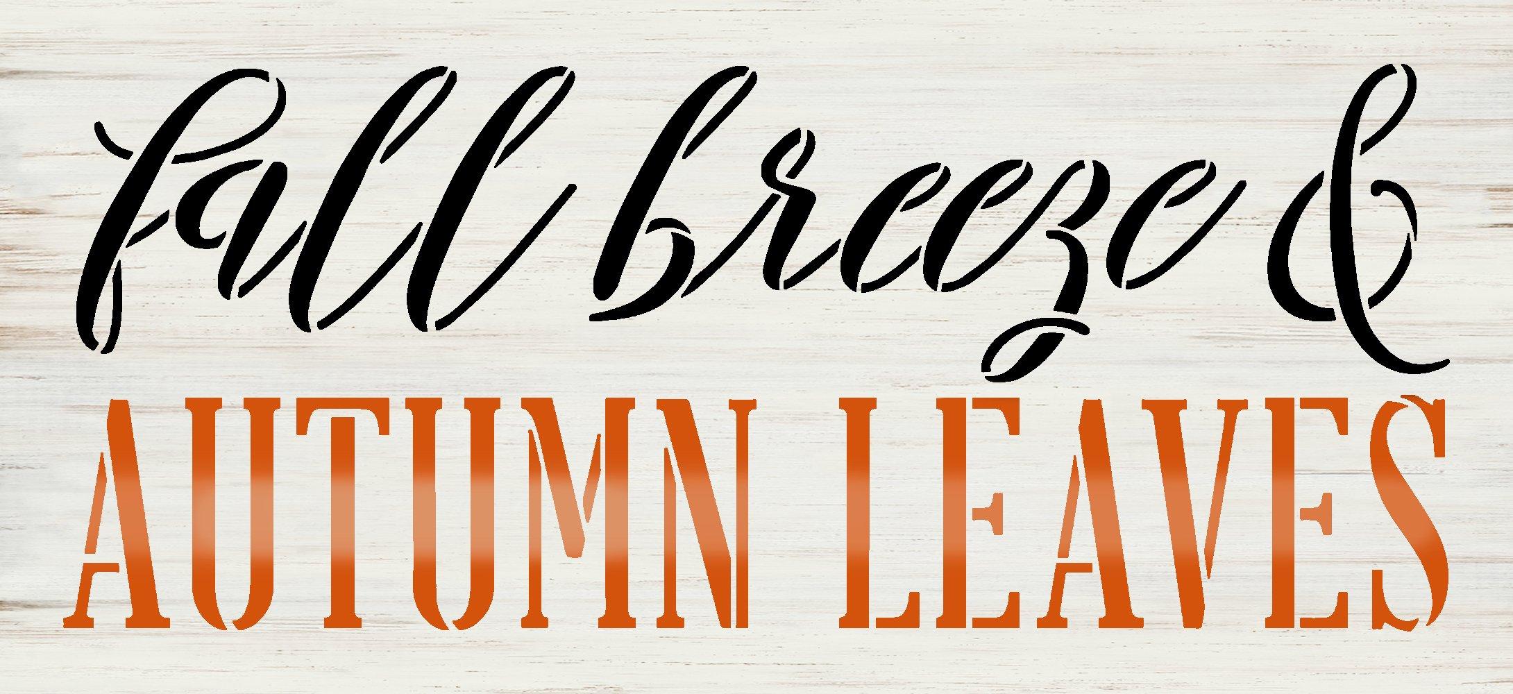 Fall Breeze & Autumn Leaves Stencil by StudioR12   Craft DIY Farmhouse Cursive Home Decor   Paint Wood Sign   Reusable Mylar Template   Select Size