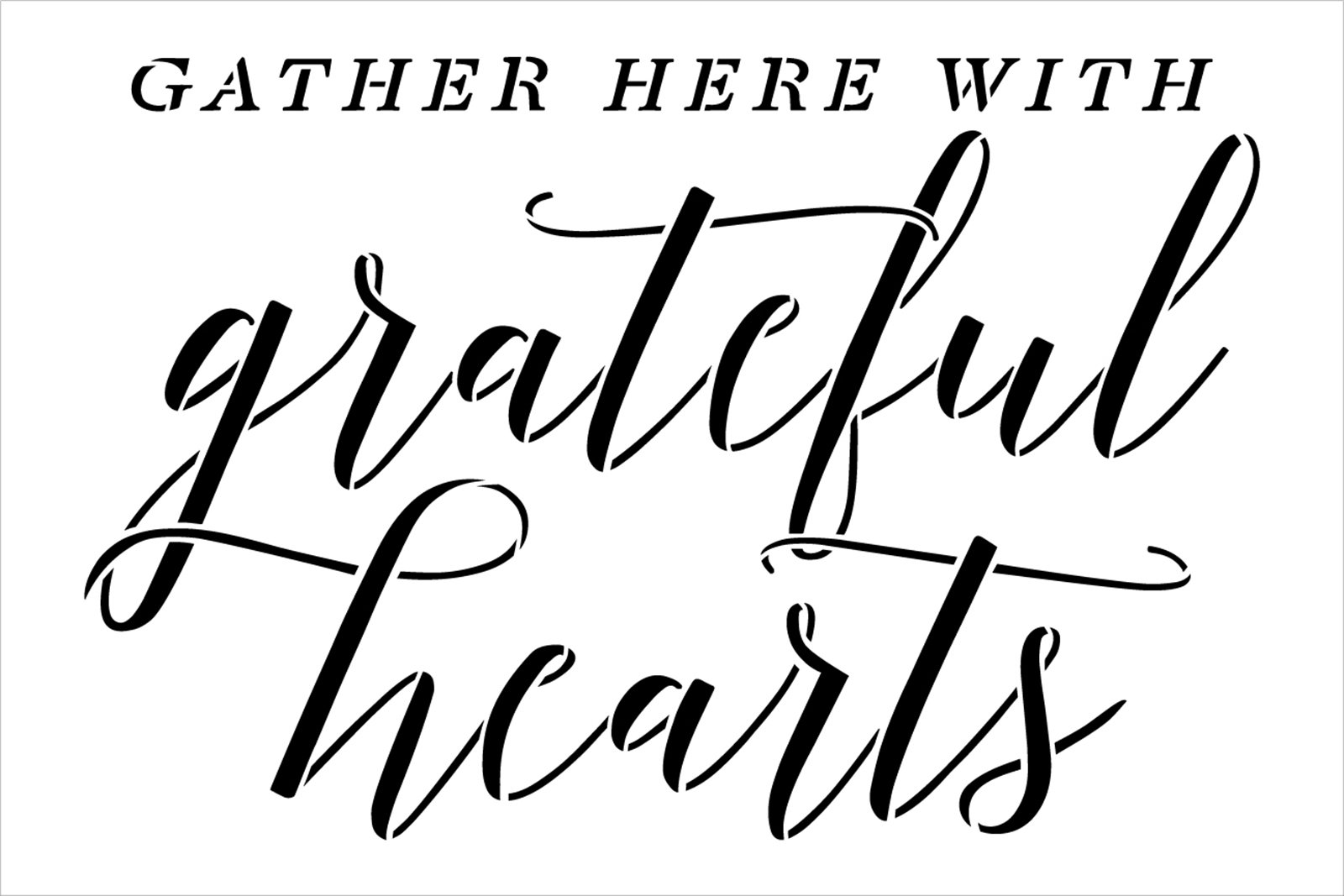Gather Here Grateful Hearts Stencil by StudioR12   Craft DIY Autumn Thanksgiving Home Decor   Paint Wood Sign   Reusable Mylar Template   Select Size