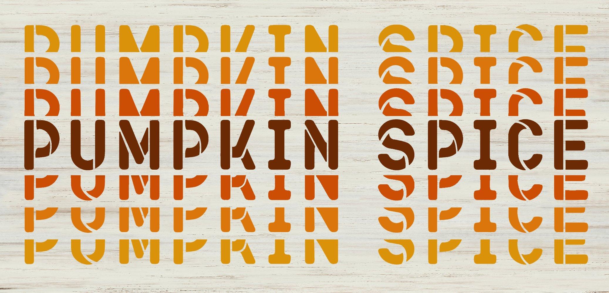 Pumpkin Spice Gradient Echo Word Art Stencil by StudioR12   DIY Fall Autumn Home Decor   Craft & Paint Wood Sign Reusable Mylar Template   Select Size